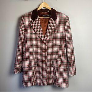 Vintage Escada Margaretha Ley Plaid Wool Blazer